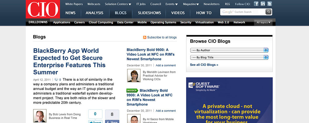 CIO Blogs Desktop Home Page