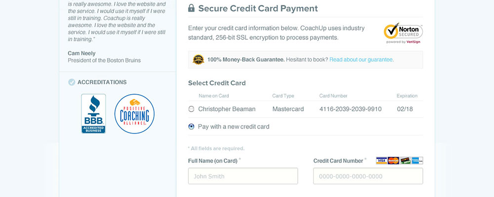 CoachUp Checkout Flow - Step 3: New Credit Card