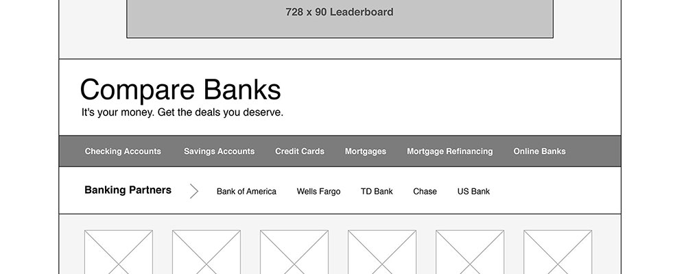 Compare Banks Wireframe